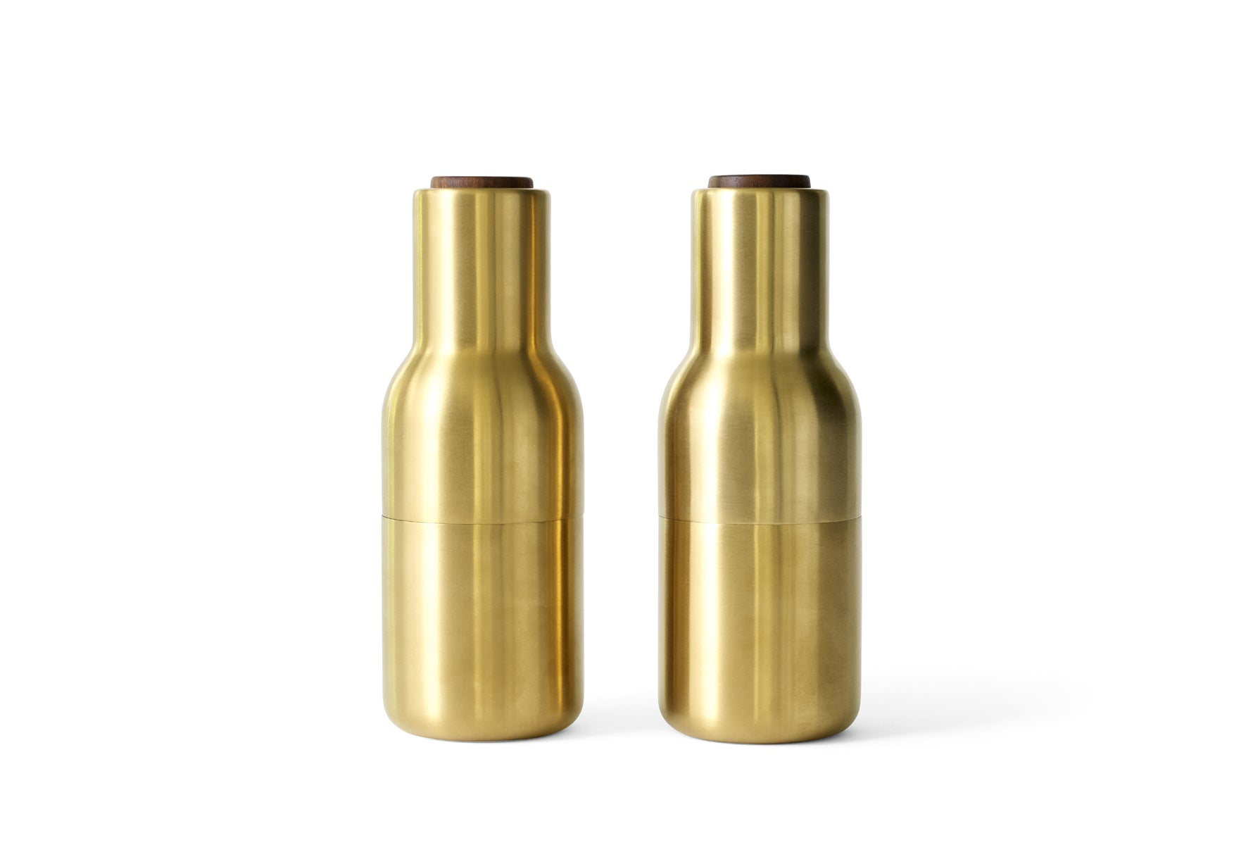 Menu Bottle Grinders - Brushed Brass - Walnut Top