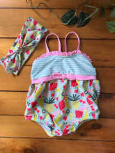 Load image into Gallery viewer, Tropical Fruit Swimsuit with Headband