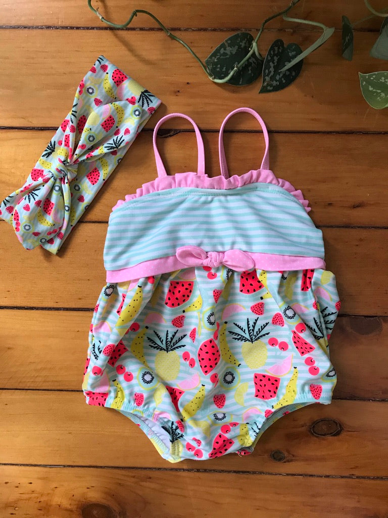 Tropical Fruit Swimsuit with Headband