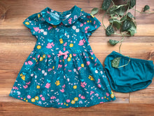 Load image into Gallery viewer, Carter's Green Floral Dress with Bloomer