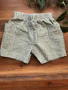 Cotton Blu Green Gingham Short