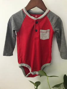 Baby Gap Red & Grey Onesie