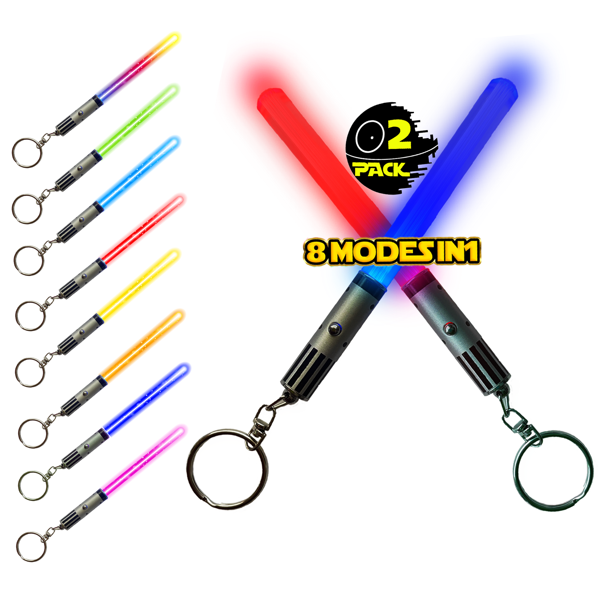LIGHTSABER KEYCHAIN LIGHT UP LED STAR WARS Glowing Light Saber Key Chain Lightup Sabers 8 COLOR MODES: Green, Blue, Red, Baby Blue, Pink, Yellow, White, Rainbow