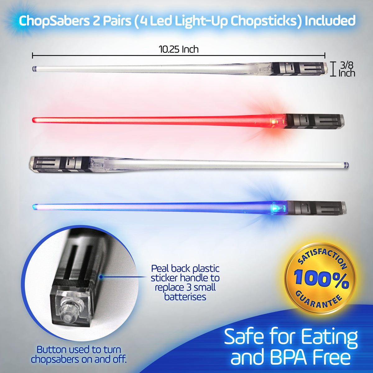 Lightsaber Chopsticks Light Up LED Reusable - 2 Pairs