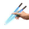 LIGHTSABER CHOPSTICKS LIGHT UP STAR WARS LED Glowing Light Saber Chop Sticks REUSABLE Sushi Lightup Sabers 1 Pair
