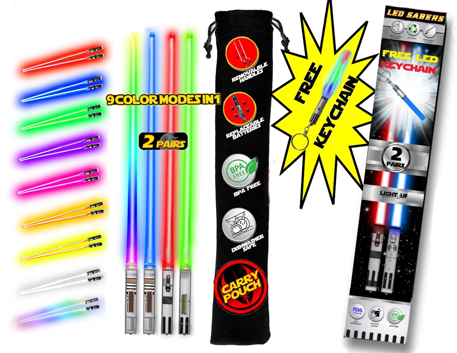 LIGHTSABER CHOPSTICKS LIGHT UP STAR WARS LED Glowing Light Saber Chop Sticks REUSABLE Sushi Lightup Sabers Removable Handle Dishwasher Safe GIFT BOX CARRY CASE 8 COLOR MODES & FREE KEYCHAIN!