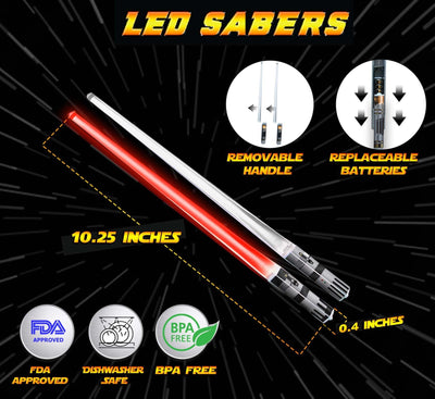 LIGHTSABER CHOPSTICKS LIGHT UP STAR WARS LED Glowing Light Saber Chop Sticks REUSABLE Sushi Lightup Sabers - Removable Handle - 1 Pair