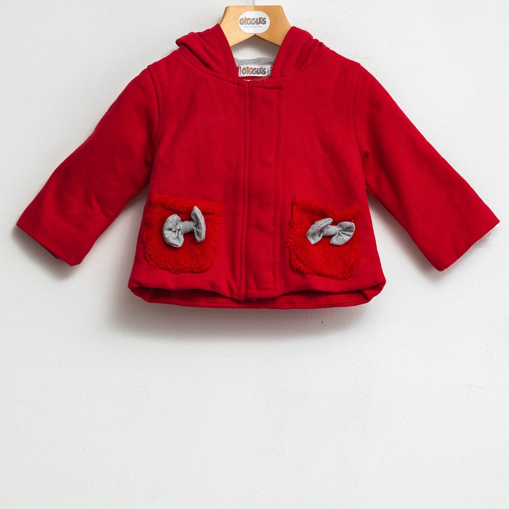knit jacket - Red