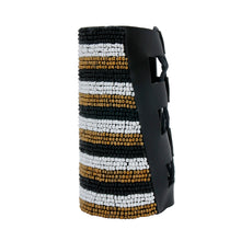 Load image into Gallery viewer, Black, White, and Gold Bead Striped Embroidered Arm Cuff Bracelet