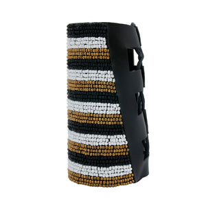 Black, White, and Gold Bead Striped Embroidered Arm Cuff Bracelet