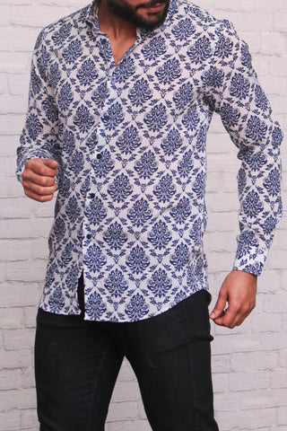 NAVY BLUE FLORAL PRINTED Premium Casual Shirt
