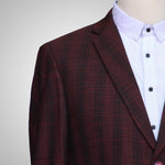 Maroon Black Checkered Premium Woolen Coat