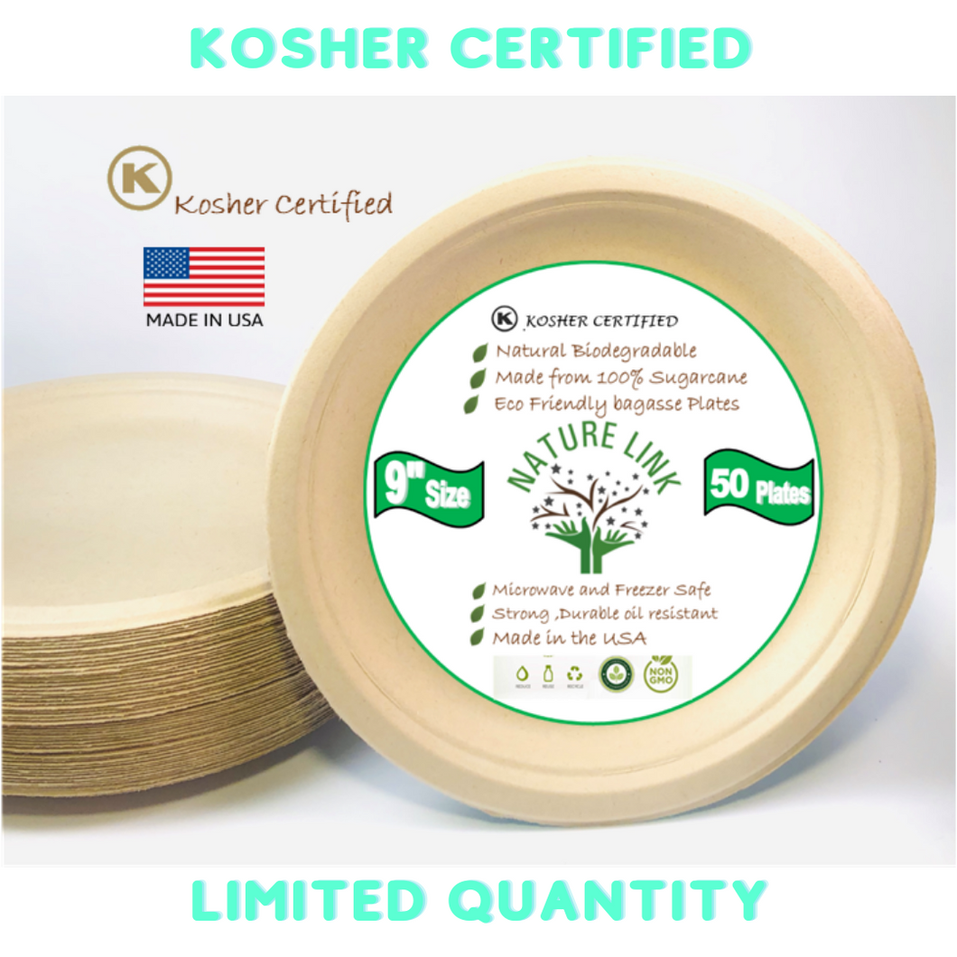 Kosher Certified Made in USA (50) Pack 100% Eco Friendly 9
