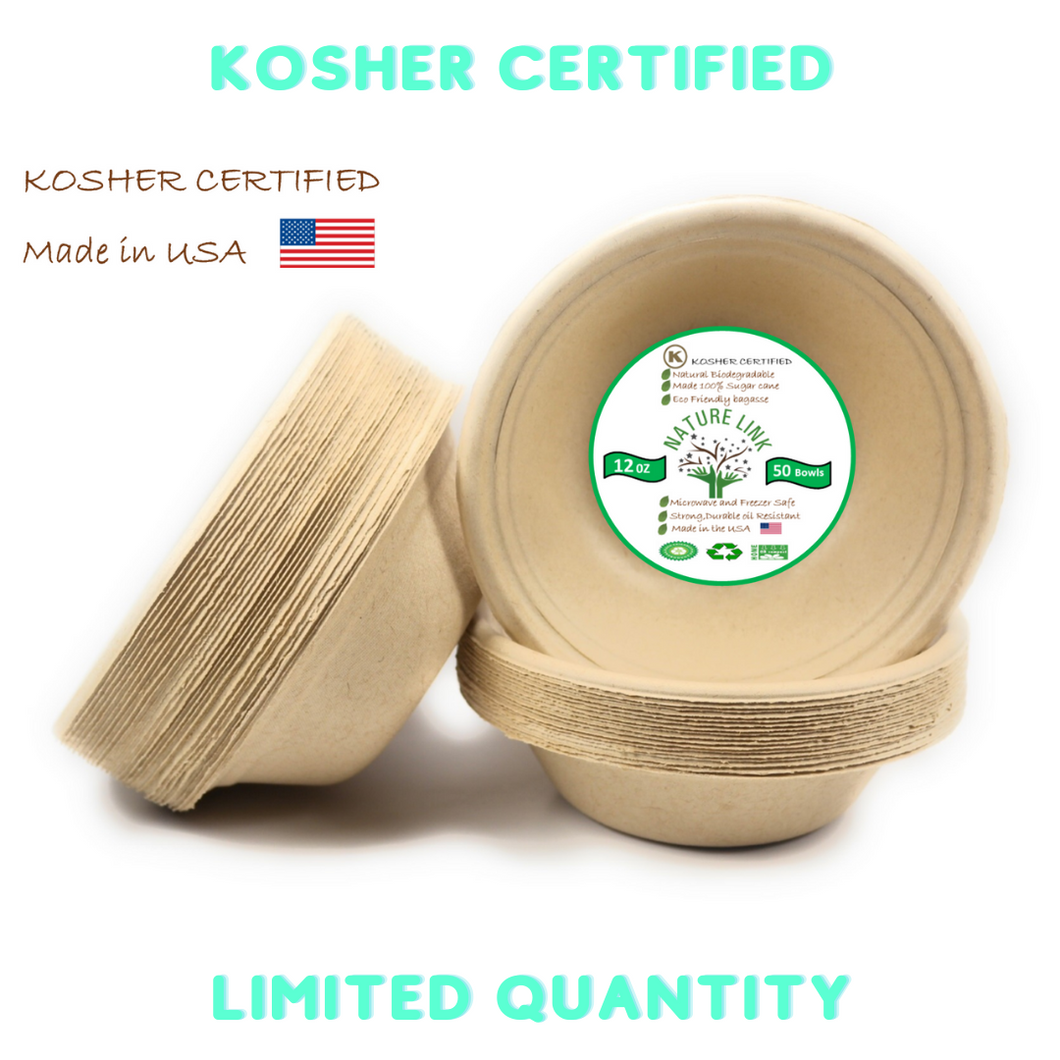 Kosher Certified Made in USA (50) Pack 100% Compostable 12 oz Paper Bowls Heavy Duty Eco Friendly Made of Sugar Cane Fibers Brown Biodegradable