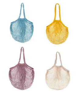 Fashionable Chic Reusable Eco-Friendly French Net Shopping String Bag with Long Handles for Fruit Vegetable Storage Beach. Set of (4)