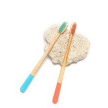 Load image into Gallery viewer, Bamboo Toothbrush Biodegradable 2 Pack (Blue and Orange) or (Yellow and Pink)