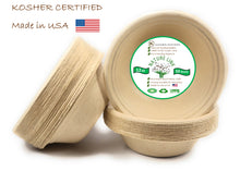 Load image into Gallery viewer, Kosher Certified Made in USA (50) Pack 100% Compostable 12 oz Paper Bowls Heavy Duty Eco Friendly Made of Sugar Cane Fibers Brown Biodegradable