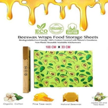 "Load image into Gallery viewer, Bees Wax reusable food wrap roll Eco Friendly Biodegradable Compostable Green Avocado Print 39"" x 13"""