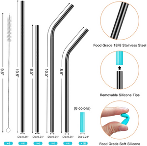 26-Pack Reusable Straws 16 Stainless Steel Metal Straws with Case + 10 Bamboos