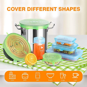 Eco Silicone Stretch Covers Reusable Expandable Rectangle and Round 13 Pcs