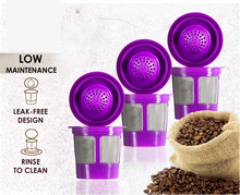 Load image into Gallery viewer, Reusable Filter Cups Compatible with Keurig K-Cups for Keurig 1.0 & 2.0 Machines (4-Pack) - Fits Most Keurig K-Cup Home Brewer (Purple)