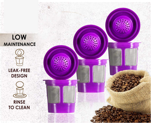 Reusable Filter Cups Compatible with Keurig K-Cups for Keurig 1.0 & 2.0 Machines (4-Pack) - Fits Most Keurig K-Cup Home Brewer (Purple)