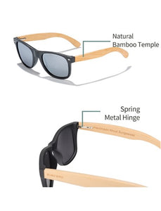 Eco-Friendly fashionable BAMBOO sunglasses with polarized UV protection lens.