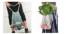 Load image into Gallery viewer, Fashionable Chic Reusable Eco-Friendly French Net Shopping String Bag with Long Handles for Fruit Vegetable Storage Beach. Set of (4)