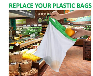 Washable Mesh Produce Bags for Grocery Shopping Storage Reusable Fruit Vegetable Kitchen Storage 12Pcs