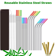 Load image into Gallery viewer, 26-Pack Reusable Straws 16 Stainless Steel Metal Straws with Case + 10 Bamboos