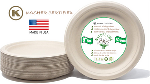 "Kosher Certified Made in USA (50) Pack 100% Eco Friendly 9"" Paper Plates"