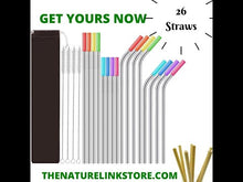 Load and play video in Gallery viewer, 26-Pack Reusable Straws 16 Stainless Steel Metal Straws with Case + 10 Bamboos
