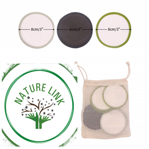 Nature Link 15 Pack Bamboo Washable Reusable Makeup Remover