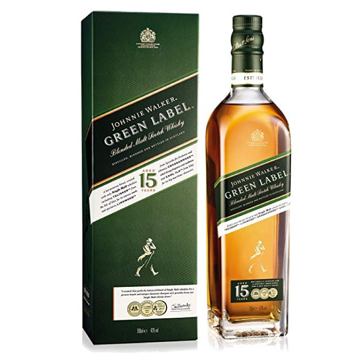 Whisky Johnnie Walker Green label reserva 15 años 43º botella 750cc