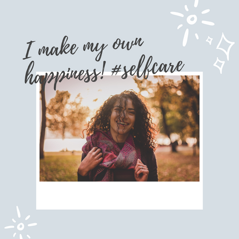 "woman in forest wearing scarf from just above the waist in grey background with words "" I make my own happiness! # selfcare"""