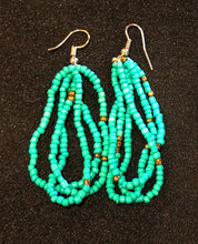 Load image into Gallery viewer, Add a splash of color with these stunning colorful earrings.  Match them with one of our seed bead or paper bead necklaces or bracelets.   Dangling style seed bead earrings in aqua color