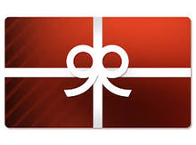 Load image into Gallery viewer, Picture of Shopify Gift card Faded red with white gift wrap ribbon and bow