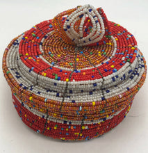 Load image into Gallery viewer, Fair Trade hand crafted basket made from seed beads. Round shape with lid. These baskets take 1 full day to create.