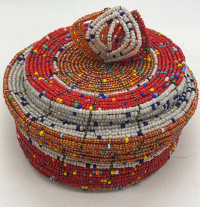 Fair Trade hand crafted basket made from seed beads. Round shape with lid. These baskets take 1 full day to create.