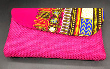 Load image into Gallery viewer, Hot pink canvas mini clutch with traditional African wax print on flap in pink multi color
