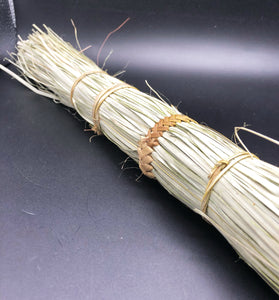 top view of one hand broom made from papyrus reed natural color