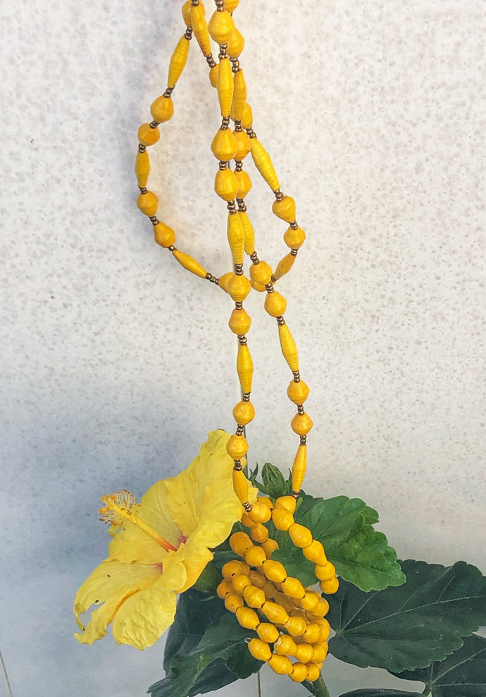 Yellow paper bead necklace and memory wrap bracelet in bright yellow with gold seed bead accent