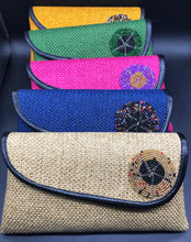 Load image into Gallery viewer, row of 5 clutches beige, blue, pink, green, gold, beaded circle on flap piping around flap