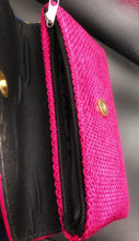 Load image into Gallery viewer, top view of hot pink mini clutch showing flap open and zipper closure