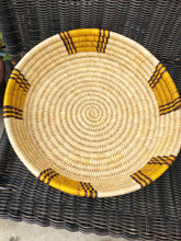 "Load image into Gallery viewer, Handwoven fair trade sturdy African tray basket made from papyrus reed grown in Kenya. Natural color 15"" round basket"
