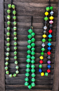 Super Chunky Paper Bead Necklace Various Colors