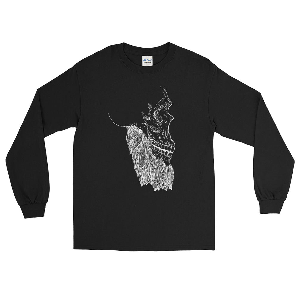Bearded Skull Long Sleeve T-Shirt (white print)