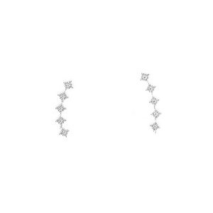 Star climber earring in white gold