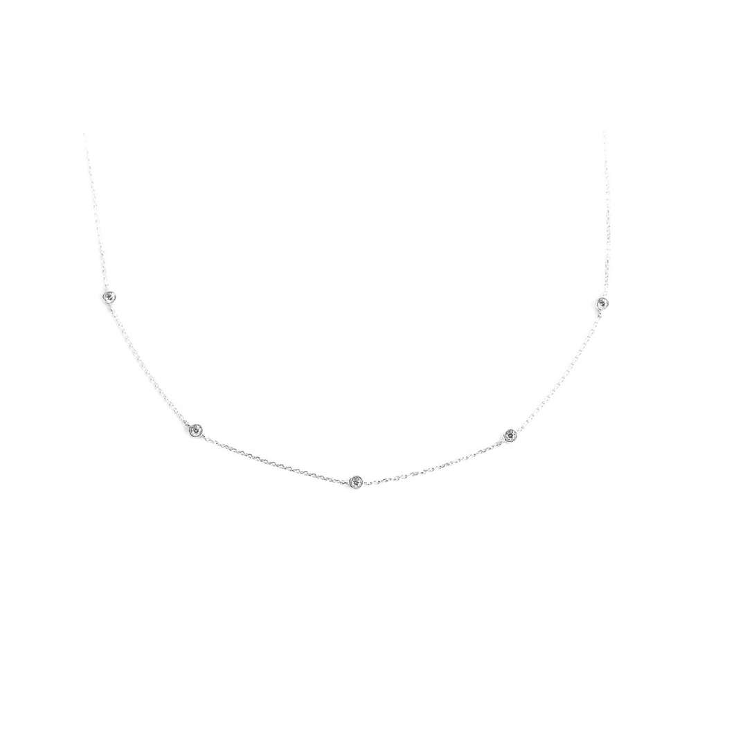 Diamond station necklace with 5 diamonds