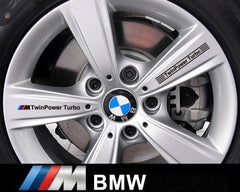 2 Pair M Power TwinPower Turbo BMW Motorsport Wheel 320i M3 M5 X5 Decal Sticker